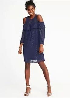 Cold-Shoulder Textured-Print Shift Dress for Women