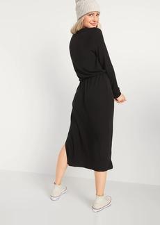 Old Navy Cozy Plush-Knit Waist-Defined Midi Dress
