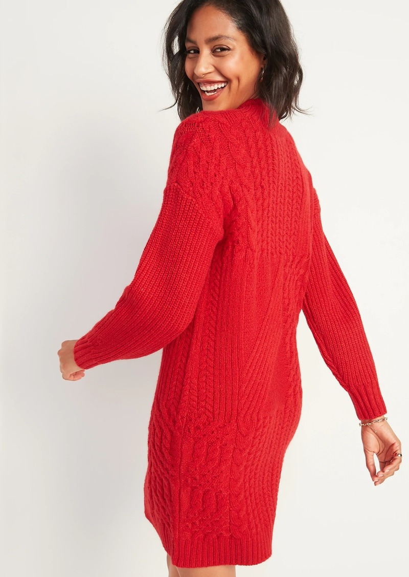 Cozy Textured-Knit Sweater Dress for Women