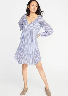 Crinkle-Gauze Striped Boho Swing Dress for Women