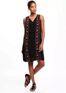 Crinkle-Gauze Tassel Shift Dress for Women