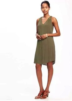 Crochet-Strap V-Neck Shift Dress for Women