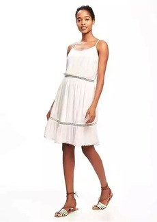 Crochet-Trim Swing Dress for Women
