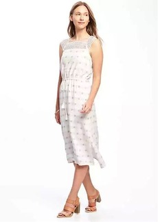 Crochet-Yoke Linen-Blend Midi for Women