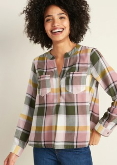 Old Navy Cropped Flannel Swing Top for Women