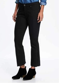 Black Flare Ankle Mid-Rise Jeans for Women