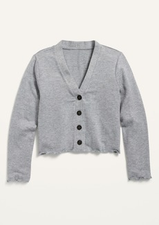 Old Navy Cropped Plush-Knit Button-Front Cardigan Sweater for Girls