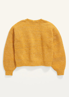 Old Navy Cropped Space-Dye Button-Front Cardigan Sweater for Girls