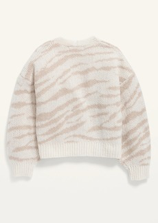 Old Navy Cropped Textured Jacquard Button-Front Cardigan Sweater for Girls