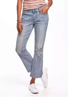Distressed Flare Ankle Mid-Rise Jeans for Women