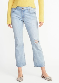 Distressed Flare Cropped Jeans for Women