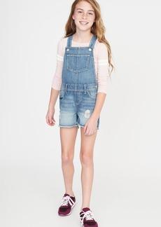 Old Navy Distressed Frayed-Hem Denim Shortalls for Girls