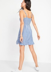 Old Navy Dobby-Stripe Ruffle-Hem Fit & Flare Cami Dress for Women