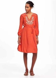 Embellished-Yoke Swing Dress for Women
