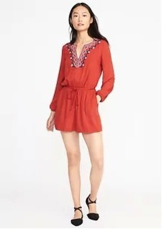 Embroidered Belted Romper for Women