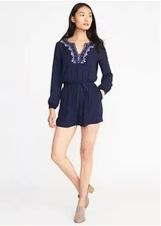 Old Navy Embroidered Belted Romper for Women