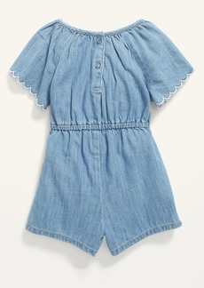 Old Navy Embroidered Chambray Flutter-Sleeve Romper for Toddler Girls