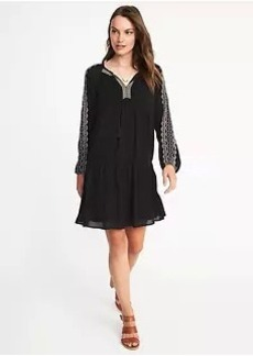Old Navy Embroidered Crinkle-Gauze Swing Dress for Women