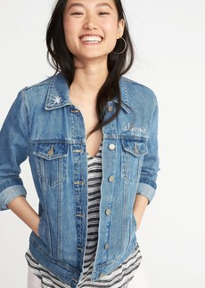 Old Navy Embroidered Denim Jacket for Women