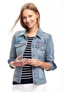 Embroidered-Graphic Denim Jacket for Women