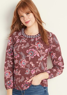 Old Navy Embroidered-Neck Jersey Top for Women