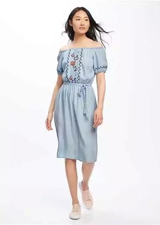 Embroidered Off-Shoulder Tencel&#174 Midi Dress for Women