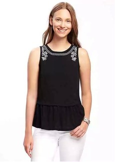Old Navy Embroidered Peplum-Hem Top for Women