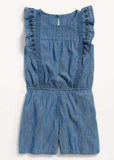 Old Navy Embroidered Ruffle-Trim Romper for Girls