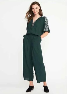 Embroidered-Trim Jumpsuit for Women