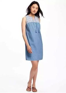 Embroidered-Yoke Chambray Shift Dress for Women