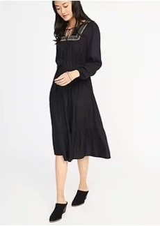 Embroidered-Yoke Cinched-Waist Dress for Women