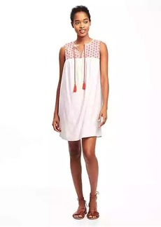 Embroidered-Yoke Linen-Blend Shift Dress for Women