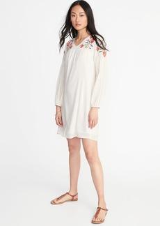 Embroidered-Yoke Shift Dress for Women