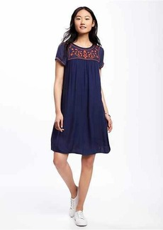 Embroidered-Yoke Shift Dress for Women