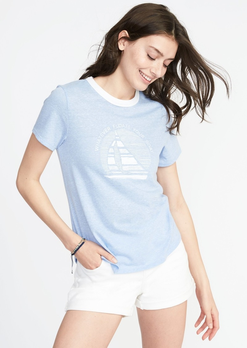 7140336fb020 Old Navy EveryWear Graphic Ringer Tee for Women   Tees