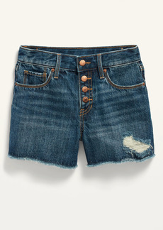 Old Navy Extra High-Waisted Dark-Wash Distressed Cut-Off Jean Shorts for Girls