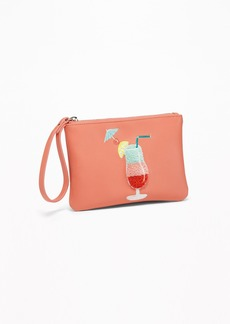 Old Navy Faux-Leather Cocktail-Patch Wristlet for Women