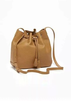 Old Navy Faux-Leather Drawstring Bucket Bag for Women
