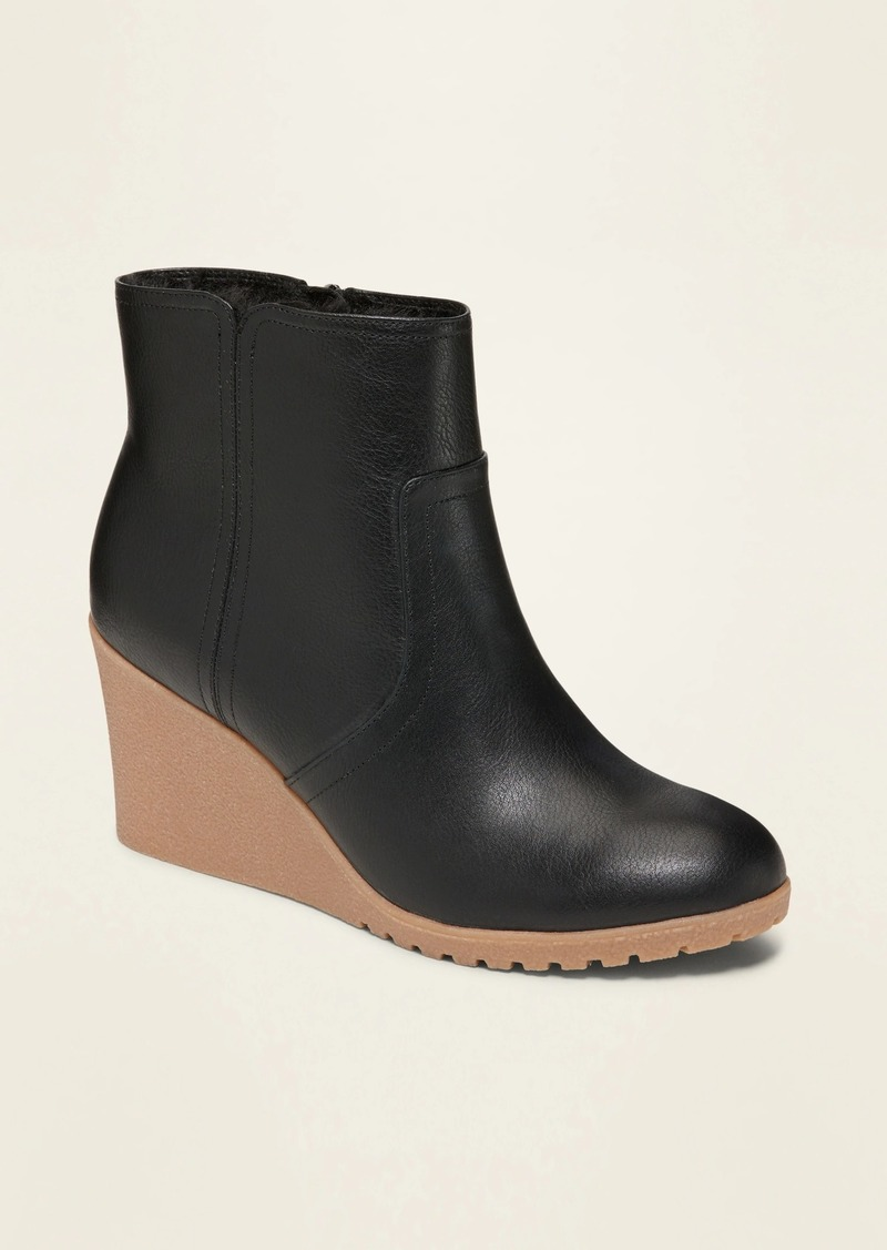 Old Navy Faux-Leather Wedge Booties for Women