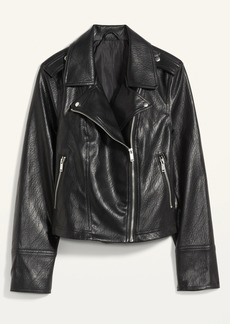 Old Navy Faux-Leather Zip-Pocket Moto Jacket for Women