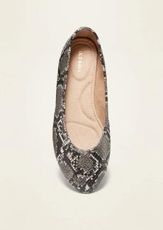 Old Navy Faux-Snakeskin Almond-Toe Ballet Flats for Women