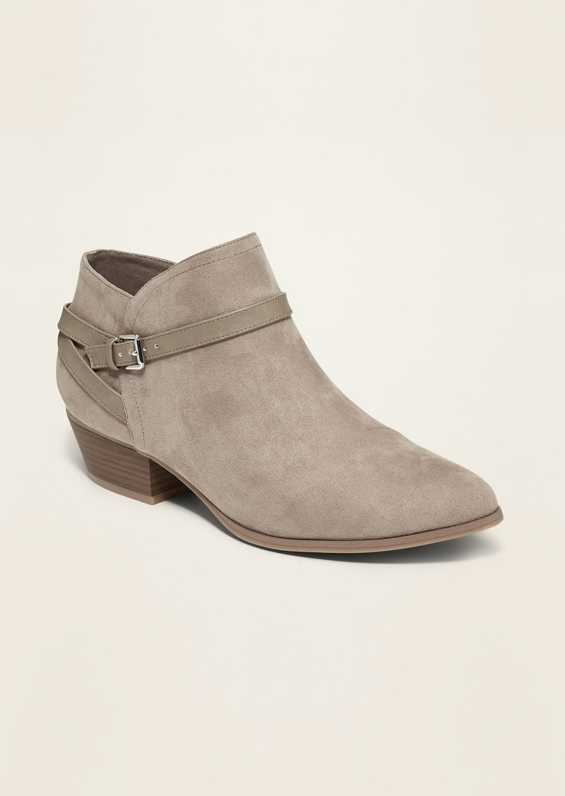 Old Navy Faux-Suede Ankle-Strap Boots for Women