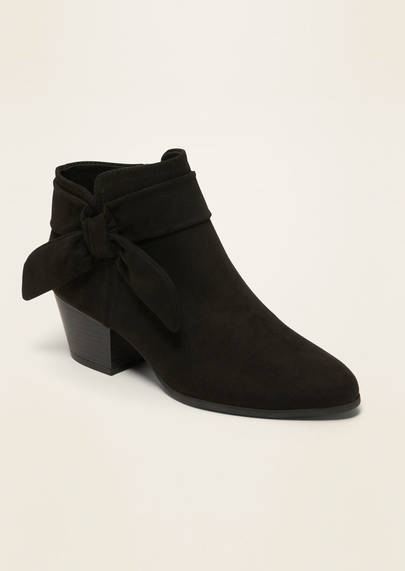 Old Navy Faux-Suede Bow-Tie Ankle Boots for Women