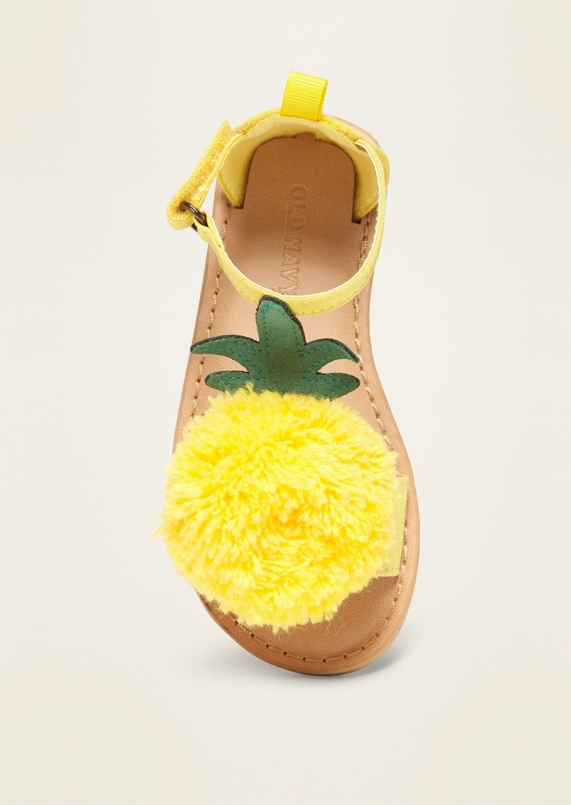 Faux-Suede Pineapple Pom-Pom Sandals