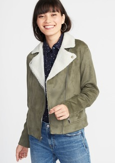 Old Navy Faux-Suede Sherpa-Collar Moto Jacket for Women