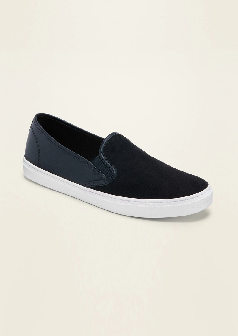 Old Navy Faux-Suede/Faux-Leather Slip-On Sneakers for Women