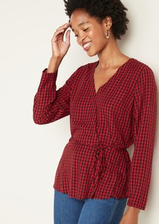 Old Navy Faux-Wrap Gingham Top for Women