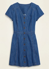 Old Navy Fit & Flare Button-Front Jean Mini Dress for Women