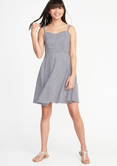 Fit & Flare Cami Gingham Dress for Women