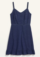 Old Navy Fit & Flare Cami Ruffle-Hem Jean Dress for Women